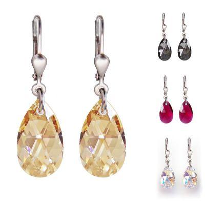 Ohrringe mit kleinen Swarovski® Kristall Tropfen 16mm, Ohrhänger 925 Silber rhodiniert   PD/OH57RH