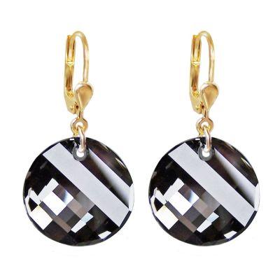 Ohrringe mit Swarovski® Kristall Twist grau, vergoldet, 10/000 Gold-Doublé Ohrhänger, Crystal Silver Night | PD/OH 68db-SN / EAN:4250887401780