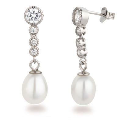Ohrringe Perlen-Ohrstecker 925 Silber Rhodium mit 4 Zirkonia und Süßwasserperle hängend | WoJ-OH24-P08-w / EAN:4250887407393