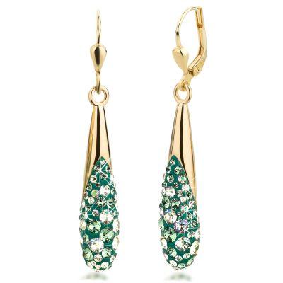 Ohrringe vergoldet mit Swarovski® Kristall Pavé dunkel-grün | PP-OH27Trp-vg-gr / EAN:4250887406372