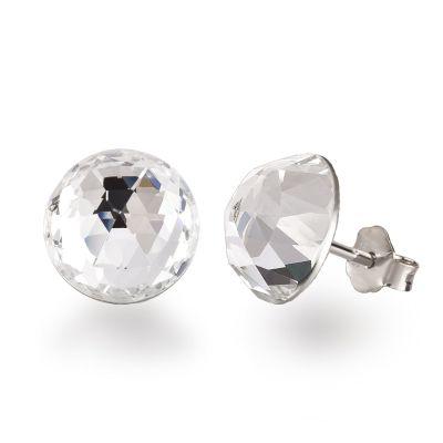 Ohrstecker aus 925 Silber mit Swarovski® Kristall Halbkugel 12mm groß | SW-OS12-C / EAN:4250887406105