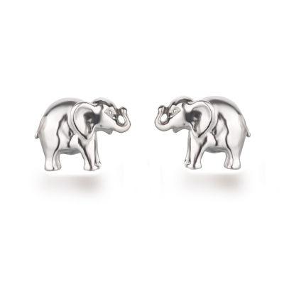 Ohrstecker Elefant Motiv 925 Silber Rhodium Ohrringe für Kinder Mädchen | OS01-Elefant / EAN:4250887406679