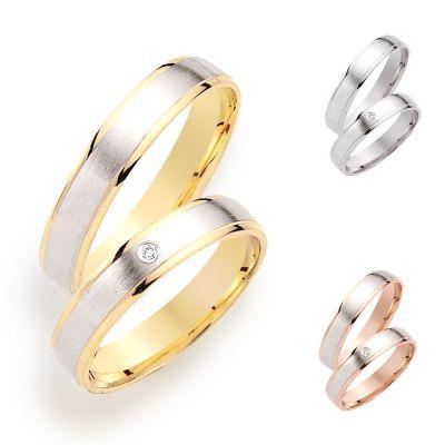 Partnerringe 925 Silber rhodiniert mattiert verschiedene Vergoldung | Ef-Ri-FS-46 / EAN:4250887403999