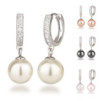 Perlen Ohrringe, Creolen aus 925 Silber Rhodium mit glitzernden Zirkonia und synth. Perle 10mm   Fi-OCR12_Ku10 / EAN:4250887400097