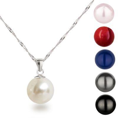 Perlenanhänger 12mm Perle mit Halskette 925 Silber Rhodium | Ku12-SngRH / EAN:4250887409465
