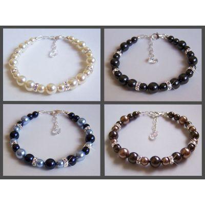 Perlenarmband mit glitzernden Swarovski® Kristall Strass-Elementen und 925 Silber | S-Ku/AB 20