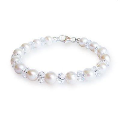 Perlenarmband mit Swarovski® Kristall und Süßwasserperlen | S-P-A49w-gl06-C / EAN:4250887401957