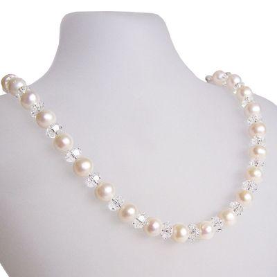 Perlenkette mit funkelnden Swarovski® Kristall, Süßwasser Zuchtperlen und 925 Silberschließe | S-P49w-gl06-C / EAN:4250887401940