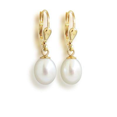 Perlenohrringe hochwertig vergoldet mit Süßwasser-Zuchtperlen in Tropfenform weiß, Gold-Doublé Ohrhänger | OH-SWP08db-w / EAN:4250887403661