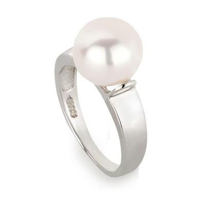Perlenring 925 Silber rhodiniert Ring mit 9mm Süßwasser-Perle | Ri-Fi01P-w / EAN:4250887407379