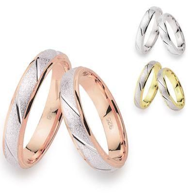 Ringpaar Oberfläche sandgestrahlt mit glänzenden Quer-Rillen, 925 Silber rhodiniert und verschiedene Vergoldun   Ef-Ri4053 / EAN:4250887404033