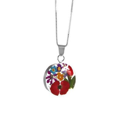 Runder Anhänger mit echten Blumen, gemischte Miniaturblüten, mit 925 Silberkette | SV-HK-MP49 / EAN:4250887403319