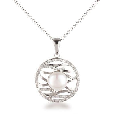 Runder Anhänger mit großer Süßwasser Zuchtperle, Fassung mit Zirkonia, 925 Silber Halskette, echte Perle | Fi-P110-w_RL118 / EAN:4250887404699