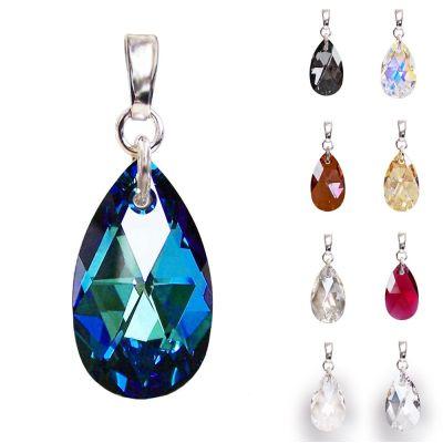 Schmuckanhänger 925 Silber rhodiniert mit Swarovski® Kristall Tropfen 22mm groß, verschiedene Farben | PD-AN58RH / EAN:4250887402688