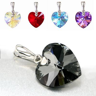 Schmuckanhänger mit Swarovski® Kristall Herz 21mm groß, 925 Silber Rhodium, verschiedene Farben   PD-AN-H21