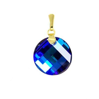 Schmuckanhänger vergoldet mit Swarovski® Twist Kristall 18mm blau, Bermuda Blue, 10/000 Gold-Doublé | PD-AN 68db-BB / EAN:4250887401865