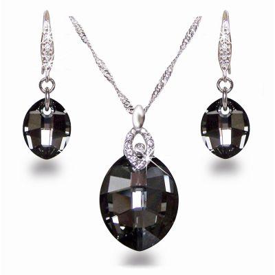 Schmuckset aus 925 Silber Rhodium mit Swarovski® Kristall Leaf in Silver Night | Set 28-SN / EAN:4250887400127