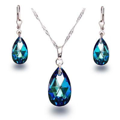 Schmuckset mit Bermuda Blue Kristall Tropfen von Swarovski® 925 Silber Rhodium | PD-Set58-BB / EAN:4250887404934