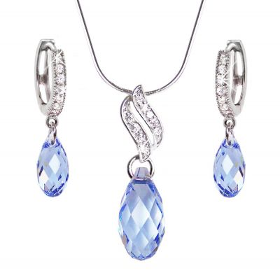 Schmuckset mit hellblauen Briolett Kristallen von Swarovski®, Zirkonia und Sterlingsilber | Set-Fi12-PD22-LS / EAN:4250887402961