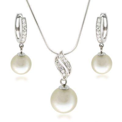 Schmuckset Perlen Anhänger mit Halskette und Creolen Ohrringe mit Zirkonia, 925 Silber rhodiniert | Set-Fi12/1-w / EAN:4250887400264
