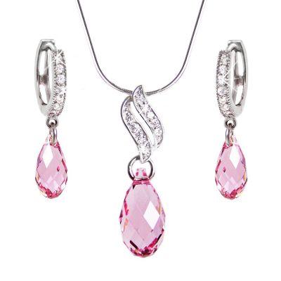 Schmuckset rosa Briolett Kristalle von Swarovski®, glitzernde Zirkonia, 925 Silber rhodiniert | Set-Fi12-PD22-LP / EAN:4250887402978