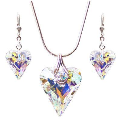 Schmuckset Wild Heart 925 Silber mit Swarovski® Kristall Herz in Crystal Aurora Boreale | PD-Set 82-AB / EAN:4250887401377