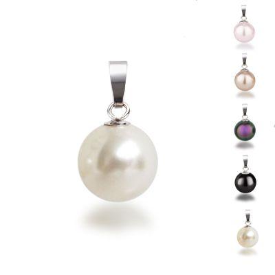 Schwarz - 925 Silber Anhänger mit synth. Perle 10mm, Farbwahl | AN-Ku10 / EAN:4250887401797