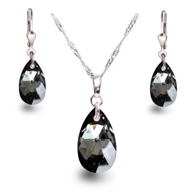 Silber Schmuckset mit edel funkelndem Silver Night Kristall Tropfen von Swarovski®   PD-Set58-SN / EAN:4250887404071