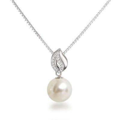 Silberkette mit Perlen Anhänger rund 12mm, besetzt mit Zirkonia, 925 Silber rhodiniert   Fi31-Ku12-w_VZ / EAN:4250887405849