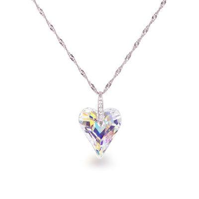 Swarovski® Kristall Herz mit 925 Silberkette, Anhänger Wild Heart in Crystal Aurora Boreale | Fi37-PD81-AB-Sng / EAN:4250887405283