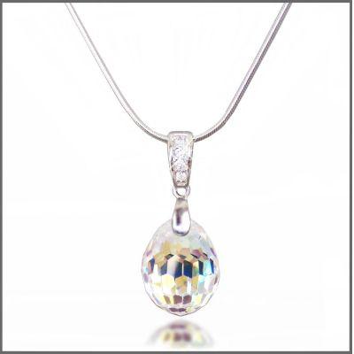 Swarovski® Kristall Tear Drop Anhänger mit 925 Silberkette   Fi19-PD19-AB_SC45cm / EAN:4250887400325