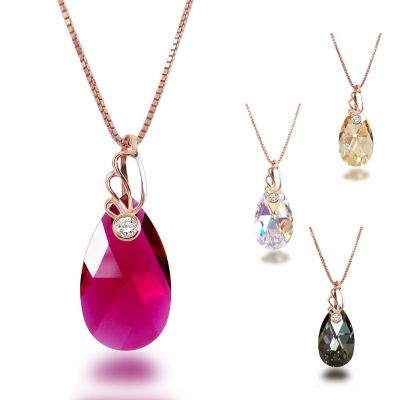 Swarovski® Kristall Tropfen Anhänger und Halskette in 925 Silber rosegold plattiert | Fi34rg-PD58