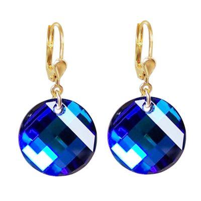 Vergoldete Ohrringe mit Swarovski® Kristall Twist blau, Ohrhänger 10/000 Gold-Doublé, Farbe: Bermuda Blue | PD/OH 68db-BB / EAN:4250887401773