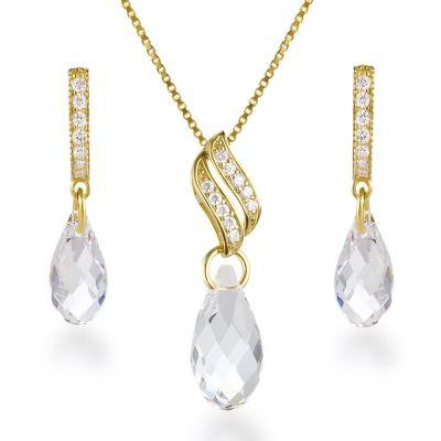 Vergoldetes 925 Silber Schmuckset mit crystalfarbenen Kristallen von Swarovski® | Set-Fi12vg-PD22-C / EAN:4250887404101