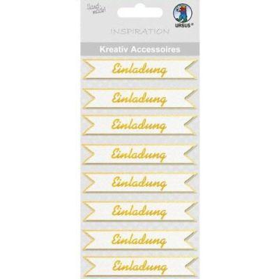 3 D Sticker Einladung gold | 564000144 / EAN:4008525010081