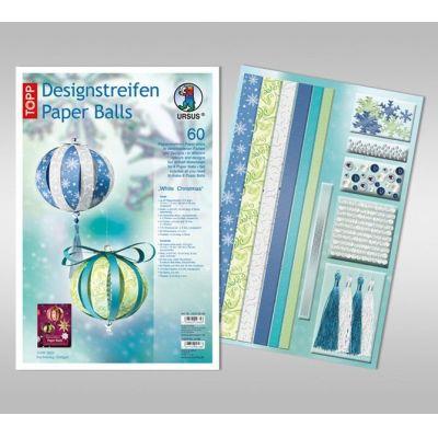 Designstreifen Paper Balls Set White Christmas   23490099