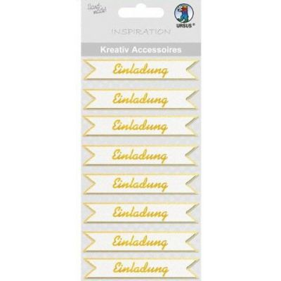 Gold - 3 D Sticker Einladung gold oder silber   564000144 / EAN:4008525010081