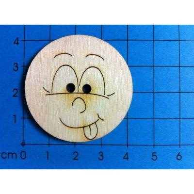 Holzknopf Gesicht Design 1   BUH 0330 / EAN:4250382850687