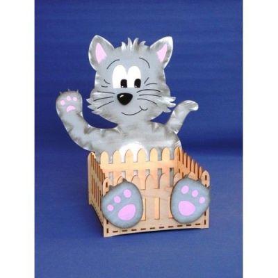 Katze mit Korb Holz Bausatz | KZB4324SB