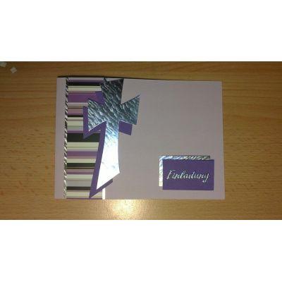 Konfirmation Kommunion Einladungskarte modernes Kreuz in handarbeit hergestellt | Conny1
