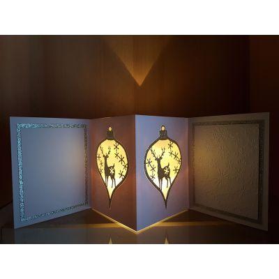 """Lichterkarte handgearbeitet mit LED-Licht """" Hirsch""""   LI 1"""