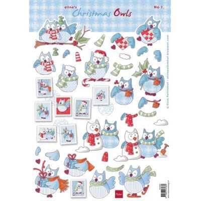 Schneidebogen Decoupage-Blätter Elines Weihnachtseulen 1 A4 | AK0055 / EAN:8716697031839