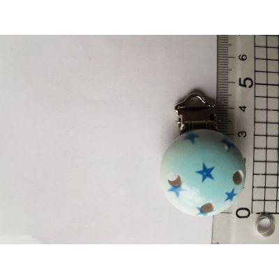 Schnuller Clip hellblau mit Sternen | B01766