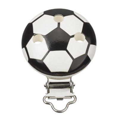 Schnullerclip Fußball schwarz / weiß | 3260001