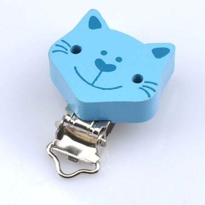 Schnullerclip Katze blau 35 x 40mm   MT0973