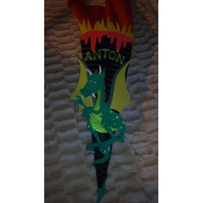 Schultüte Dragon Bastelset oder Fertige Schultüte in Handarbeit für Sie hergestellt | 60