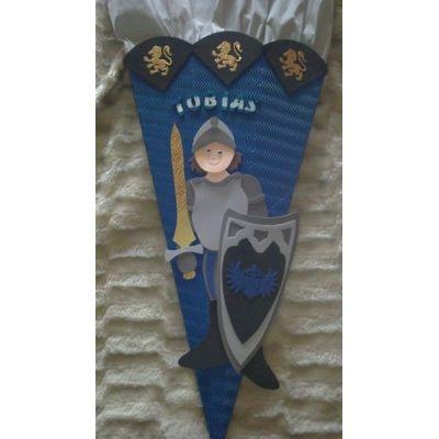 Schultüte Ritter 2 Bastelset oder Fertige Schultüte in Handarbeit für Sie hergestellt | 129852136