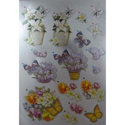 Stanzbogen Alu beschichtet 3D Blumen 2   6013-0302