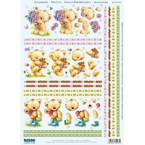 Stanzbogen Bärchen mit Blumen, Erdbeeren   82181