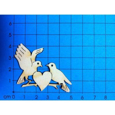 Taubenpaar mit Herz aus Holz in verschiedenen Größen | TAU 5505